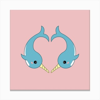 Narwhal Heart Canvas Print