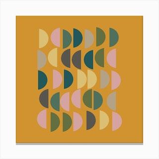 Half Circles In Mustard Square Canvas Print