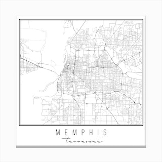 Memphis Tennessee Street Map Canvas Print