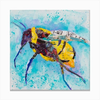 Painting Collage Colorful Bee And Nature Square Canvas Print
