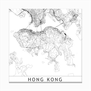 Hong Kong Map Canvas Print
