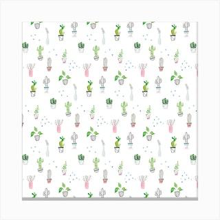 Houseplant Pattern Canvas Print