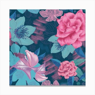 Hand Drawn Gardenias Floral Pattern Square Canvas Print
