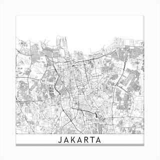 Jakarta Map Canvas Print