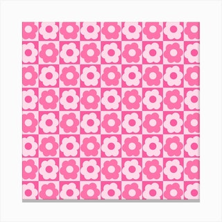 Floral Checker Pink Square Canvas Print
