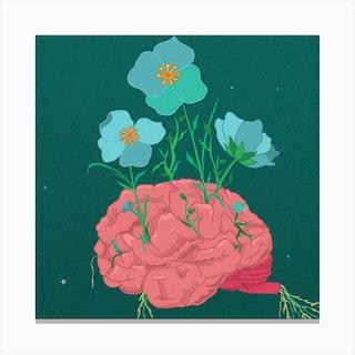 Floral Brain Square Canvas Print