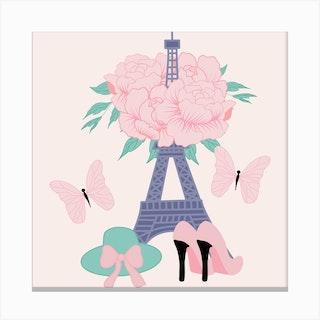 Fashion Paris Square Canvas Print