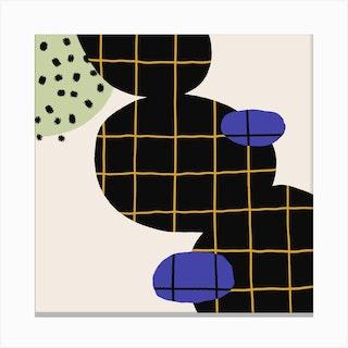 Bubbles And Square Grid Square Canvas Print