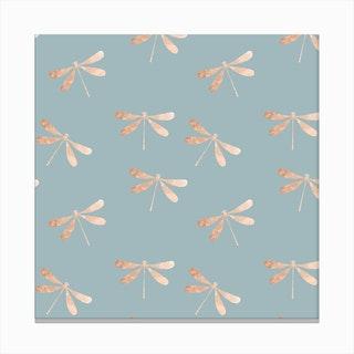 Blue Dragonfly Pattern Canvas Print