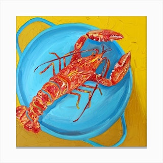 Lobster In A Pot Square Canvas Print