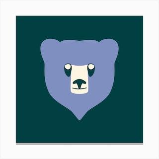 Bear Cub Blue Canvas Print