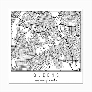 Queens New York Street Map Canvas Print
