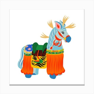 Yawata Uma Wooden Horse Toy Square Canvas Print