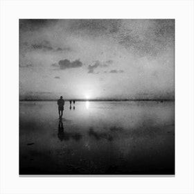 African Sunset Black And White Canvas Print