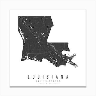 Louisiana Mono Black And White Modern Minimal Street Map Square Canvas Print