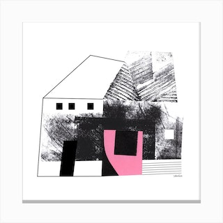 House Abstract Collage Pink Square Canvas Print
