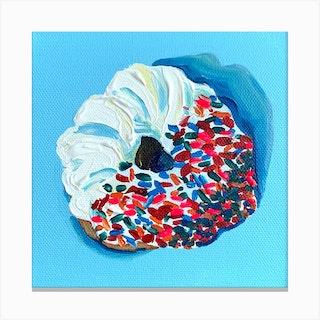 Sprinkle Donut Square Canvas Print