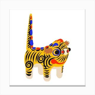 Hariko No Tora Tiger Doll Square Canvas Print