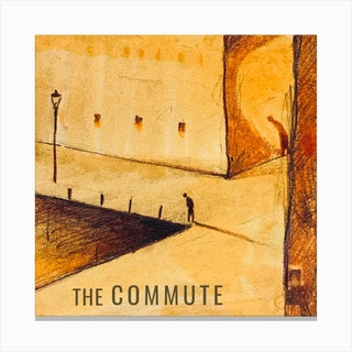 The Commute The Lonely Man Square Canvas Print