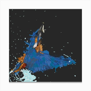 Kingfisher'S Catch Square Canvas Print