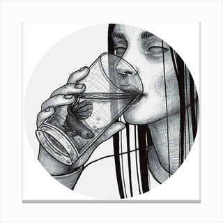 Girl Drinking Fish Canvas Print