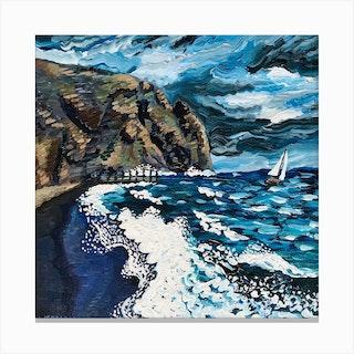 Shores Of Poseidon Square Canvas Print