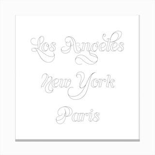 Los Angeles New York Paris Outline Canvas Print
