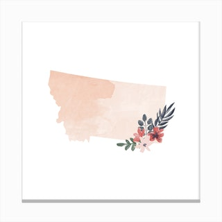 Montana Watercolor Floral State Canvas Print