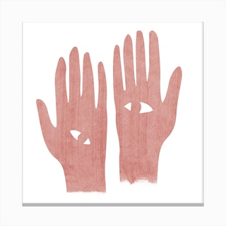 Eye Hands Pink Square Canvas Print