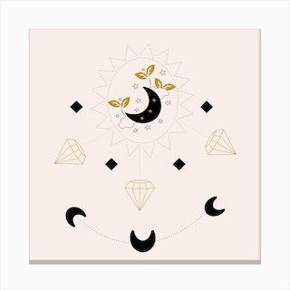 Diamonds And Moon Square Canvas Print