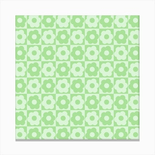 Floral Checker Green Square Canvas Print