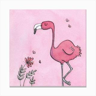 Fiona Flamingo Square Canvas Print