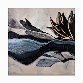Black Lotus Square Canvas Print