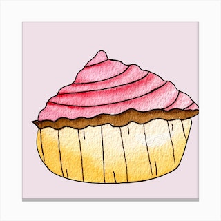 Gold And Pink Strawberry Cupcake Square Canvas Print