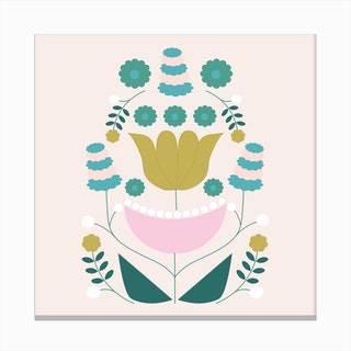 Mustard Pink And Green Retro Flower Composition 2 Canvas Print