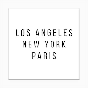 Los Angeles New York Paris Canvas Print