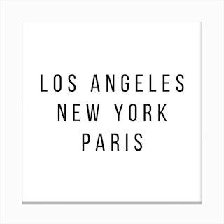 Los Angeles New York Paris Canvas Print