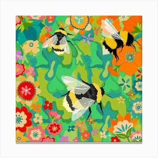 Flora Bumble Square Canvas Print