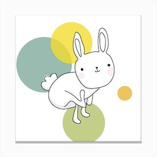 Space Rabbits Luna Canvas Print