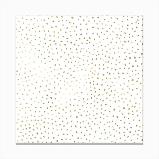 Dotted Gold And White Square Canvas Print