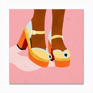 Vintage Shoes Square Canvas Print