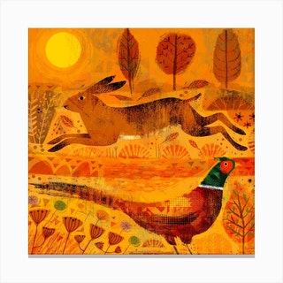 Hare And Pheasant Square Canvas Print