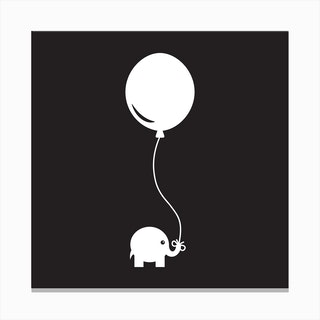 Elephant with Balloon (Black) - Square Canvas Print