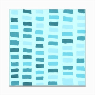 Painted Color Block Window Pane In Mint Canvas Print
