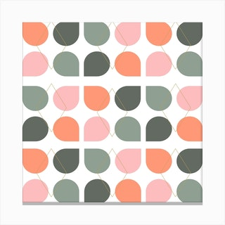 Floral Geometry In Coral And Sage Square Canvas Print