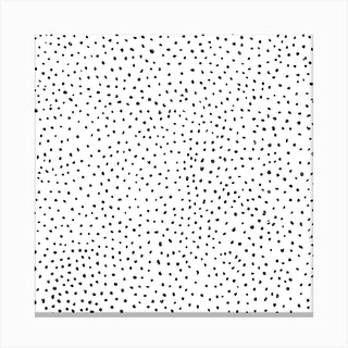 Dotted Black And White Square Canvas Print