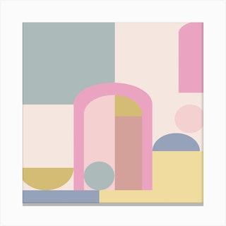 Pastel Door Square Canvas Print