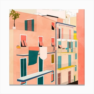Little Italy Houses Square Canvas Print