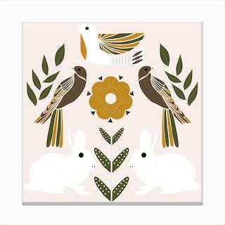 Folkie Rabbits And Birds 1 Canvas Print