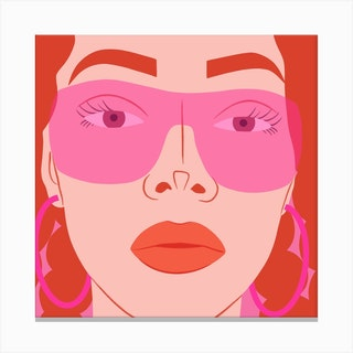 Face Orange Square Canvas Print